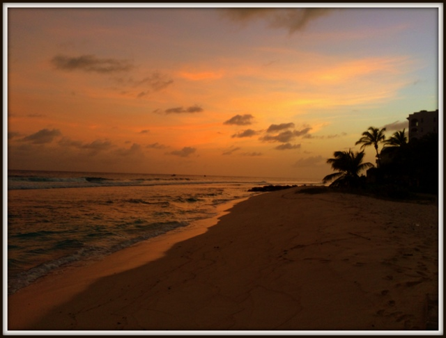 A long days work is rewarded with a beautiful sunset.  Goodnight Barbados!