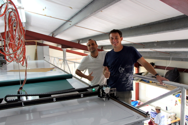 Nigel, and his Brother Paul, give a big thumbs up with Undercover's new Carlson plotter/cutter!