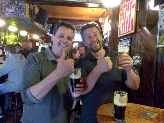 Job well done!  Gary and Ian give a BIG thumbs up in Dublin.  Celebrating a job well done.