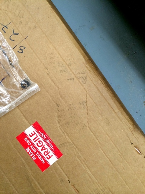 Anyone who has ever shipped something knows fragile stickers are ignored.  Note the footprint near this one.  Carlson shipments are well packed in double-walled boxes, secured to a skid or inside a crate.  It's important to inspect your shipment immediately upon arrival and report any damage immediately.  Their shipment was safe and sound.