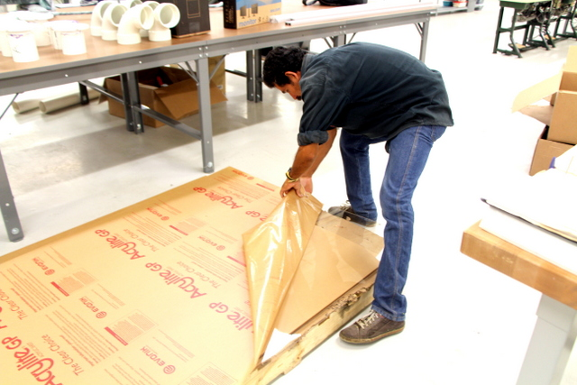 The surface is protected during shipping with a thin film on either side.
