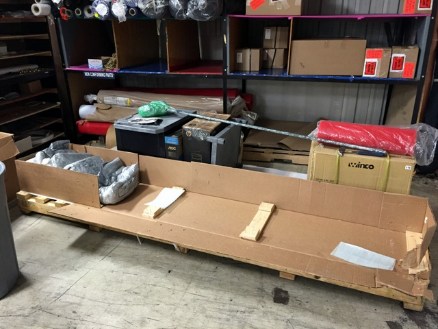 Our system arrives in one piece, having been well packaged on an overs-sized skid.  We recommend immediately unpacking the Plotter/Cutter to confirm there is no damage and all accessory boxes are present.
