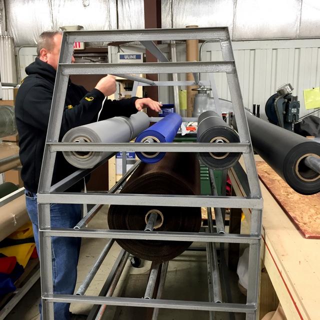 OTA's home-made roll rack.