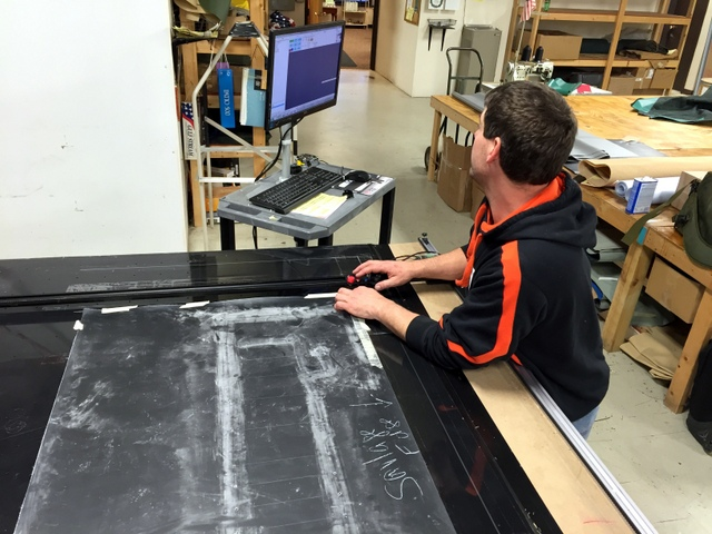 Rick is Digitizing their canvas pattern using the T-Bar Digitzer.  Their operator's workstation is on wheels, making it easy to re-position when digitizing.