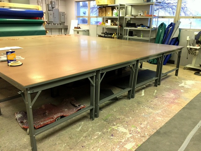 Our tables typically ship 2-3 weeks from ordering.  This means the table will arrive before the Plotter/Cutter.  The tables are easy to assemble so they decided to setup theirs before we arrive.  They did this so we could spend even more time training.