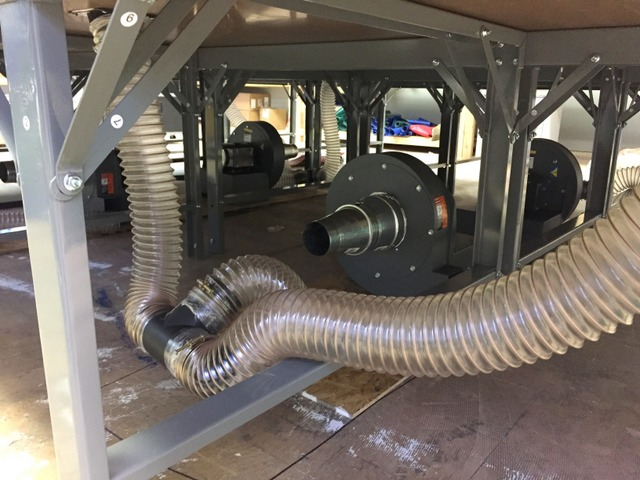 They selected four 3HP single phase blowers for their vacuum system.  These are plumbed with flexible hosing, making installation quick and easy.   Use as little hosing as possible for the best vacuum.