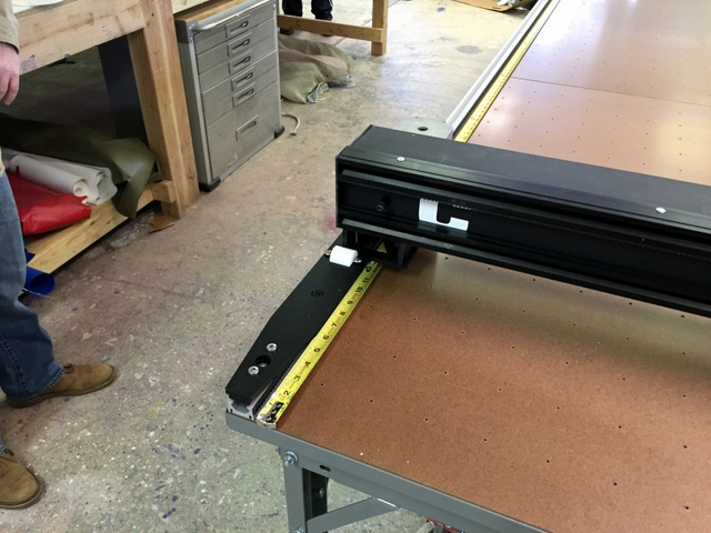 Attach side B.  A tape measure set on each side of the table will help you keep the system square during installation.