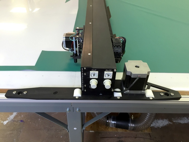 "The 27"" Stretched drive plates ensure the machine stays very square on the table.  The 1800oz stepper motors are 4x larger than our standard Pro PT to handle the added weight of the stiffer gantry."