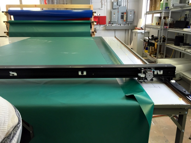 Marking the backside of the material with the plotter/cutter.