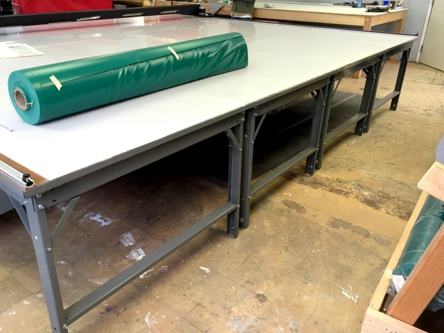 "14.5' wide table.  Our Phillocraft steel frame tables are availble in any width in 6"" increments.  The table sections come in endless 4' long lengths."