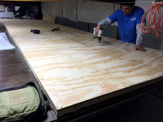 "We recommend MDF tops, but it's up to the customer to decide how they would like to build their table and they chose marine grade 3/4"" plywood.  They manually drilled a 3""x3"" hole pattern with an 1/8"" bit."