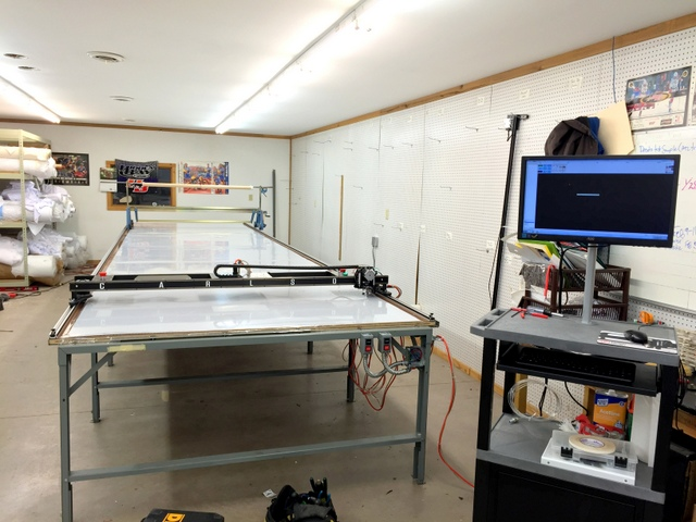 """PT-72"""" Plotter/Cutter on a 6'x24' Phillocraft vacuum table with T-Bar pattern digitizer and operator's workstation.   A wonerful looking turn-key setup."""