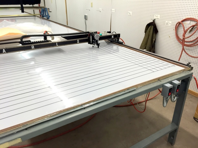 Plotting a grid on the table can help with pattern alignment when digitizing.