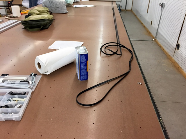 Before attaching the track to the table, this is a good time to prepare the track belt by rubbing it down with acetone.