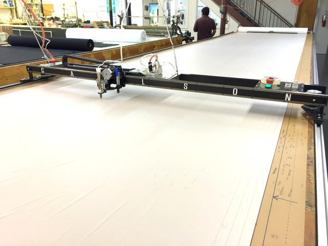 Carlson Design PT-78 Plotter/Cutter on a 76' long Phillocraft vacuum table with hot knife tool attachment.