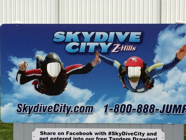 We went to City Skydive to jump out of a plane with a parachute made with our very own Carlson Plotter/Cutter.