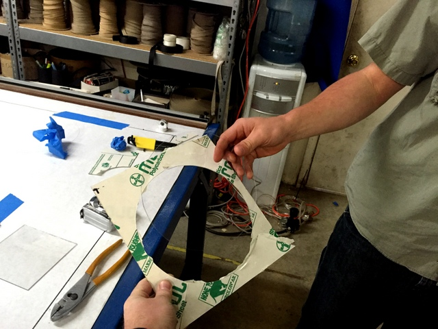 """Using the carbide drag blade they can score and """"break-out"""" shapes out of Makrolon."""