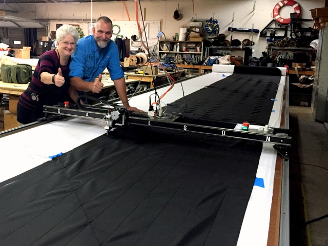 "Joni and Daymon give a Thumbs Up! next to their new Carlson Design PT-72"" Plotter/Cutter with Hot Knife tool attachment."