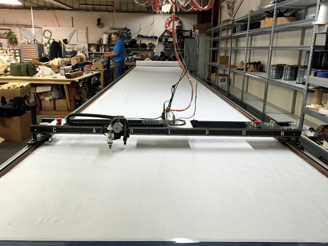 "Carlson PT-72"" Plotter/Cutter on a 6'x40' Phillocraft Vacuum Table."