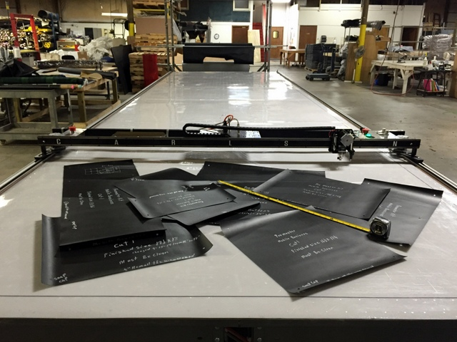 """PT-84"""" Plotter/Cutter on a 6'x24' Phillocraft Vacuum Table."""