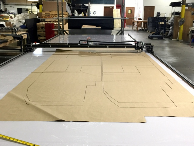 The Plotter/Cutter can mark on most materials with a pen or Sharpy. Making a pattern marker is a great way to take advantage of nesting. Mark on paper or directly on your material.